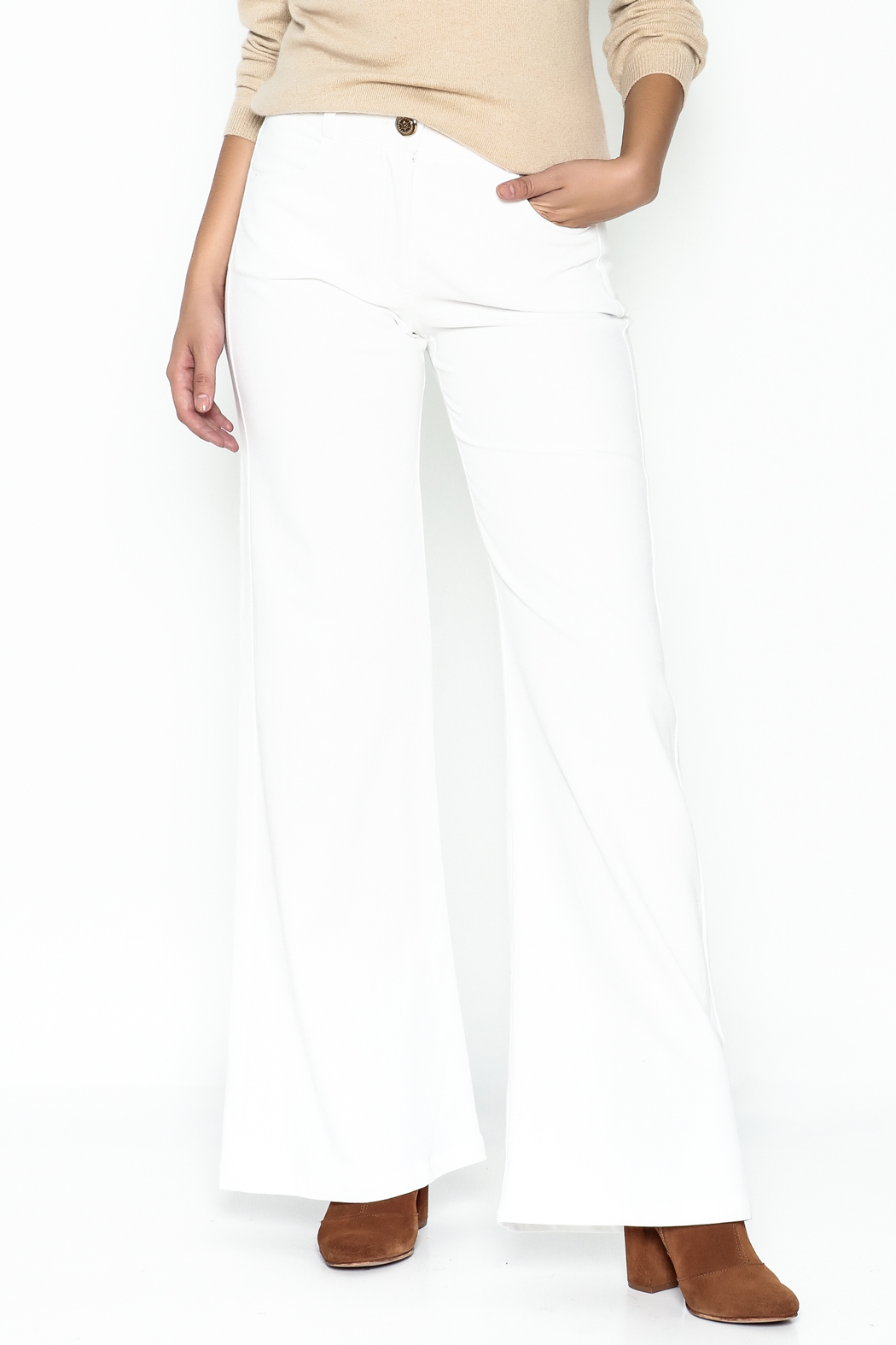 Julie Dorst White Denim Flare Pants - Main Image