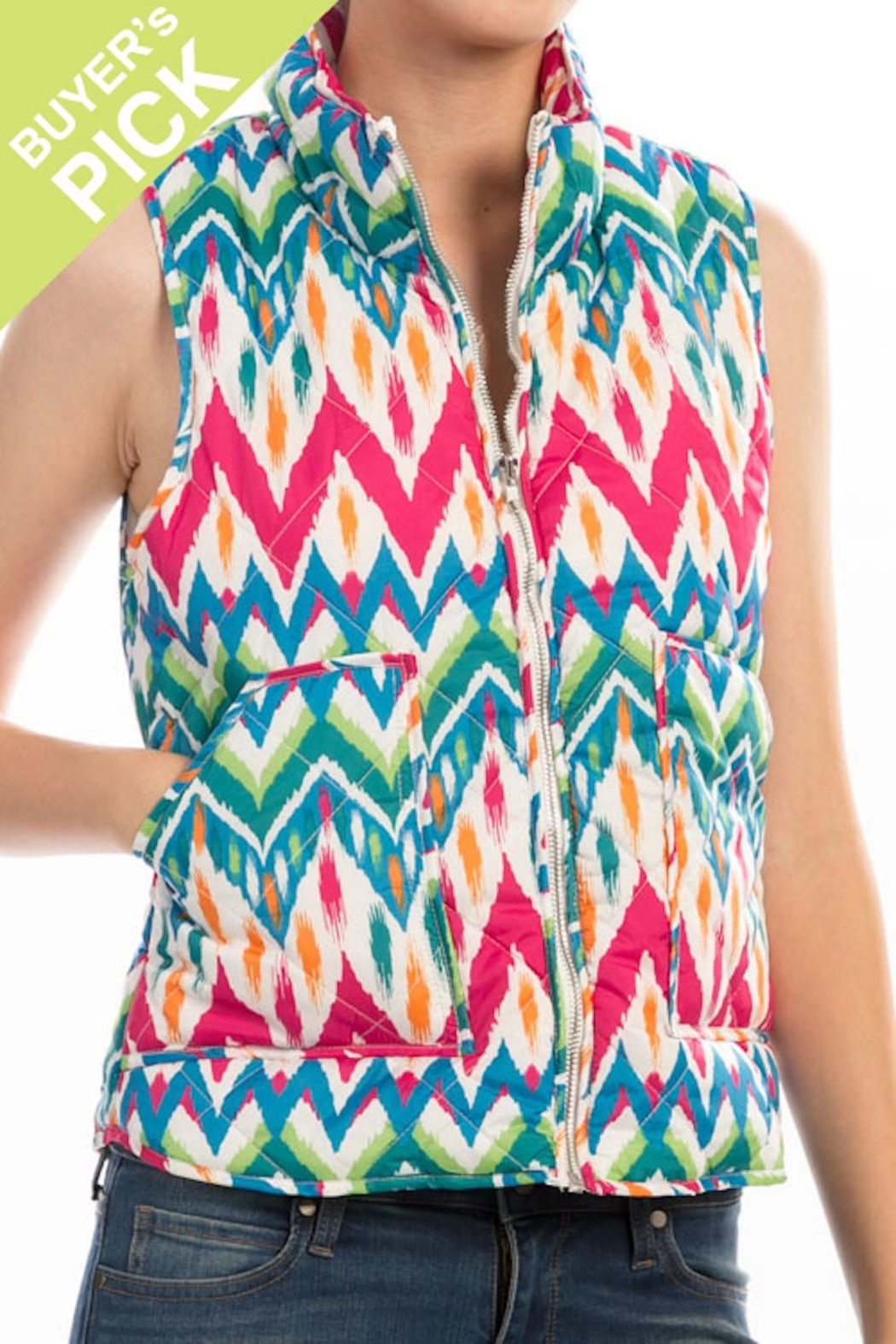 Peach Love California Quilt Zip Vest - Front Cropped Image