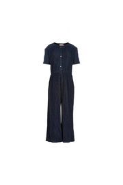 Creamie Jumpsuit Plisse Jersey - Total Eclipse - Front cropped