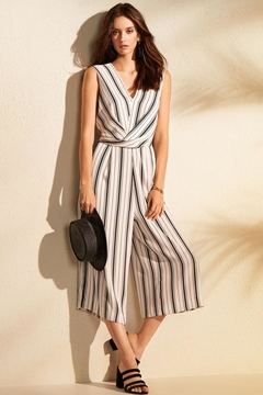 Joseph Ribkoff Stripe Cropped Jumpsuit - Product List Image