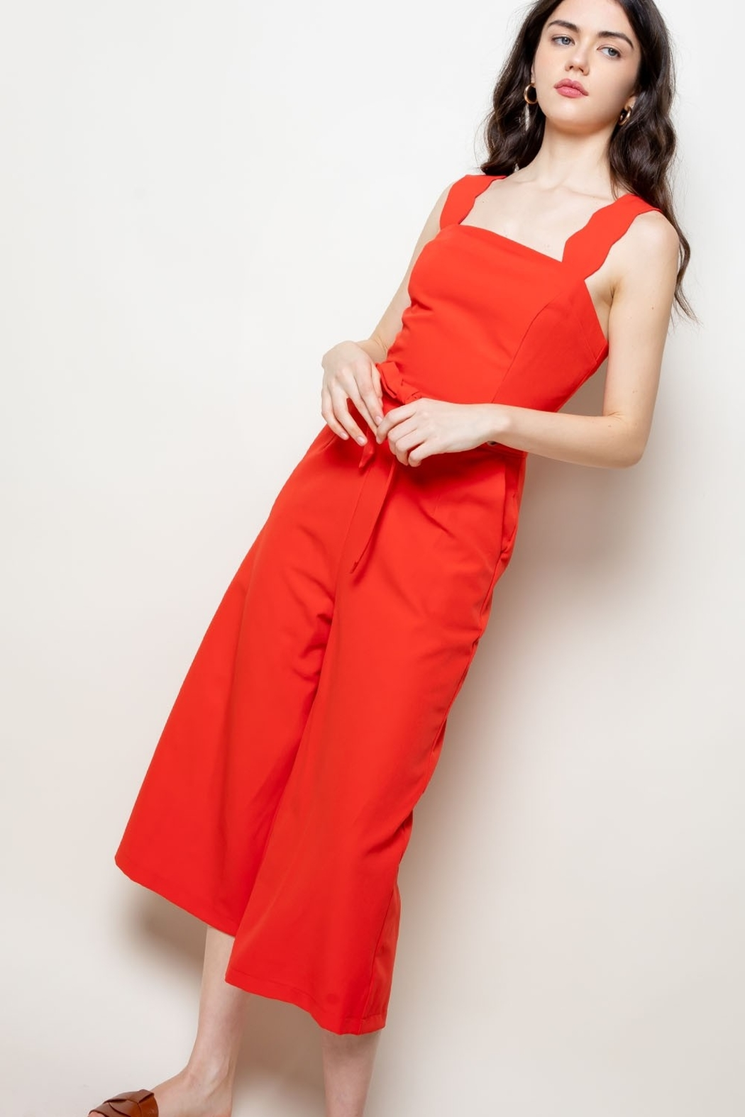 Thml Jumpsuit w Scallop Edge Detail - Front Full Image