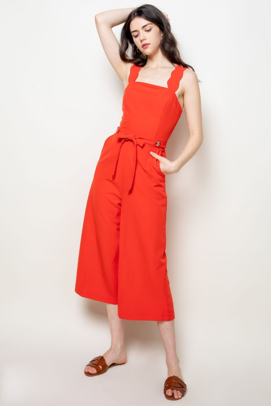 Thml Jumpsuit w Scallop Edge Detail - Front Cropped Image