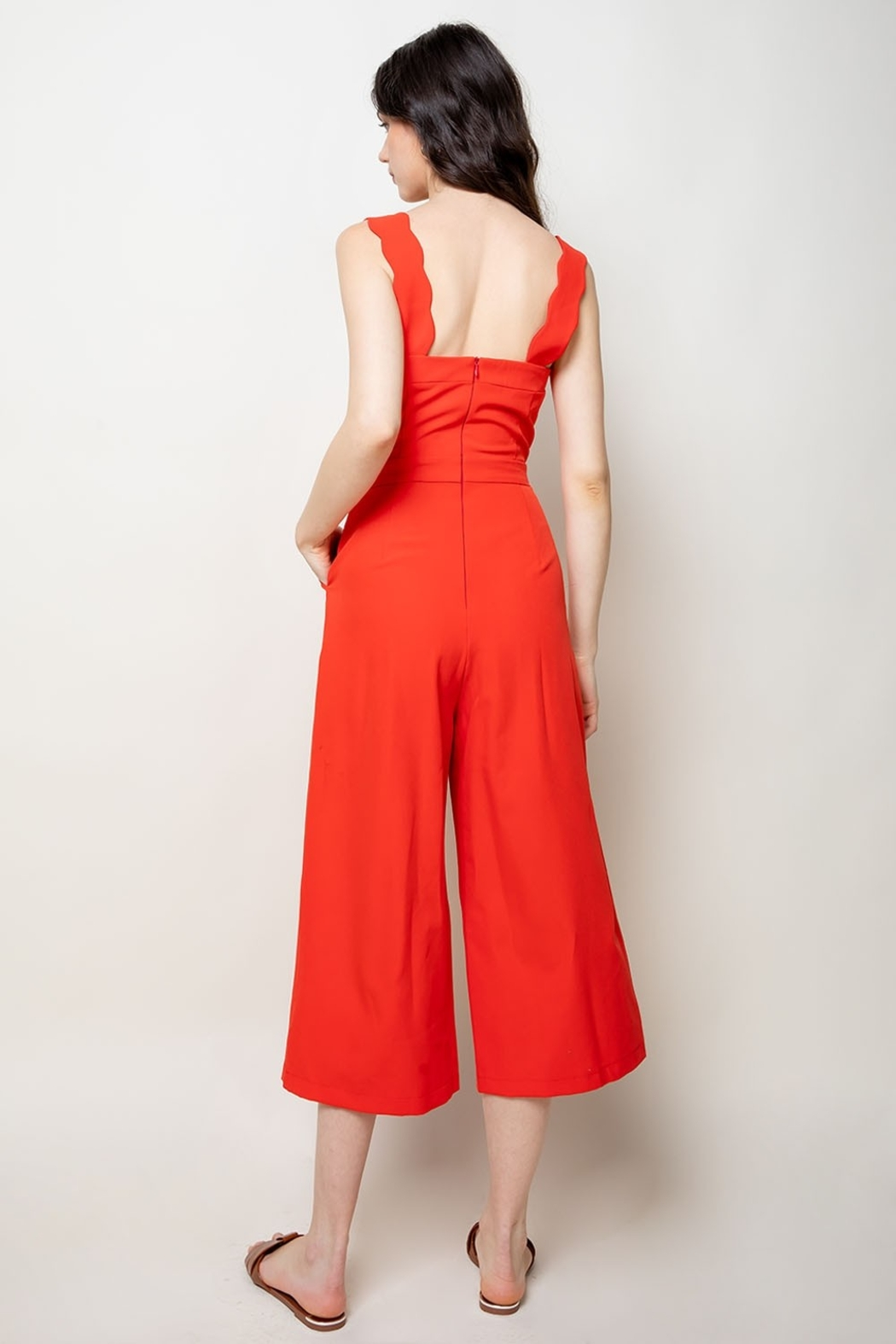 Thml Jumpsuit w Scallop Edge Detail - Side Cropped Image
