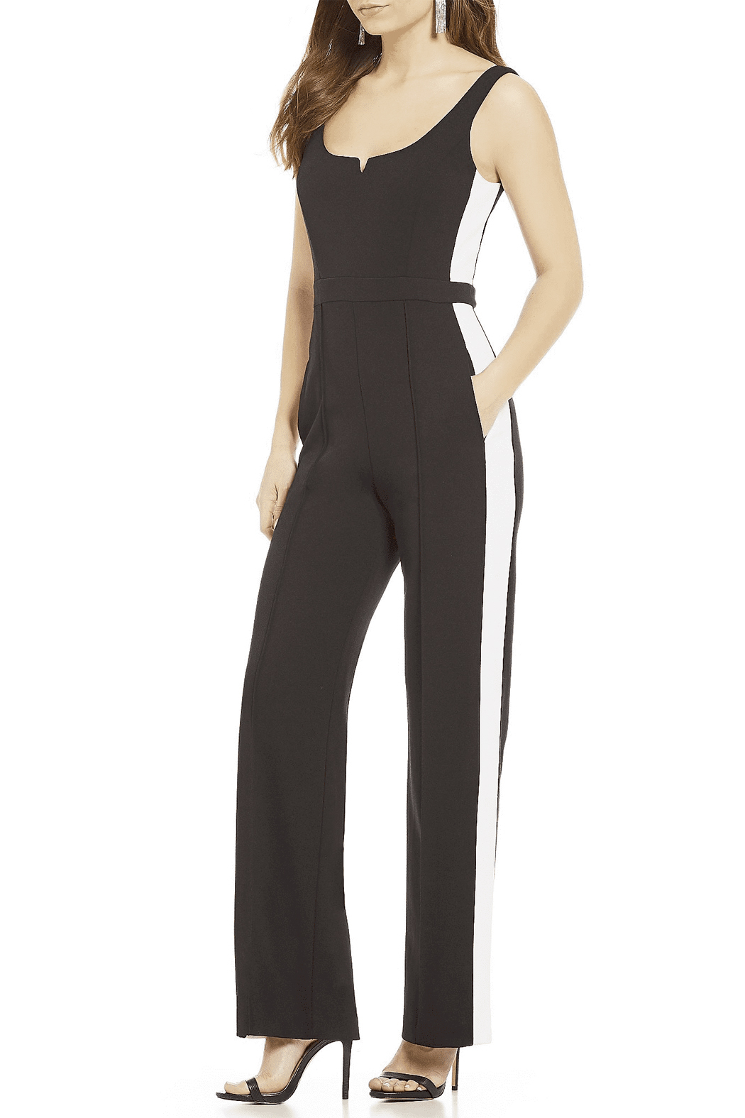 Donna Morgan Jumpsuit with White Side Stripes - Front Full Image