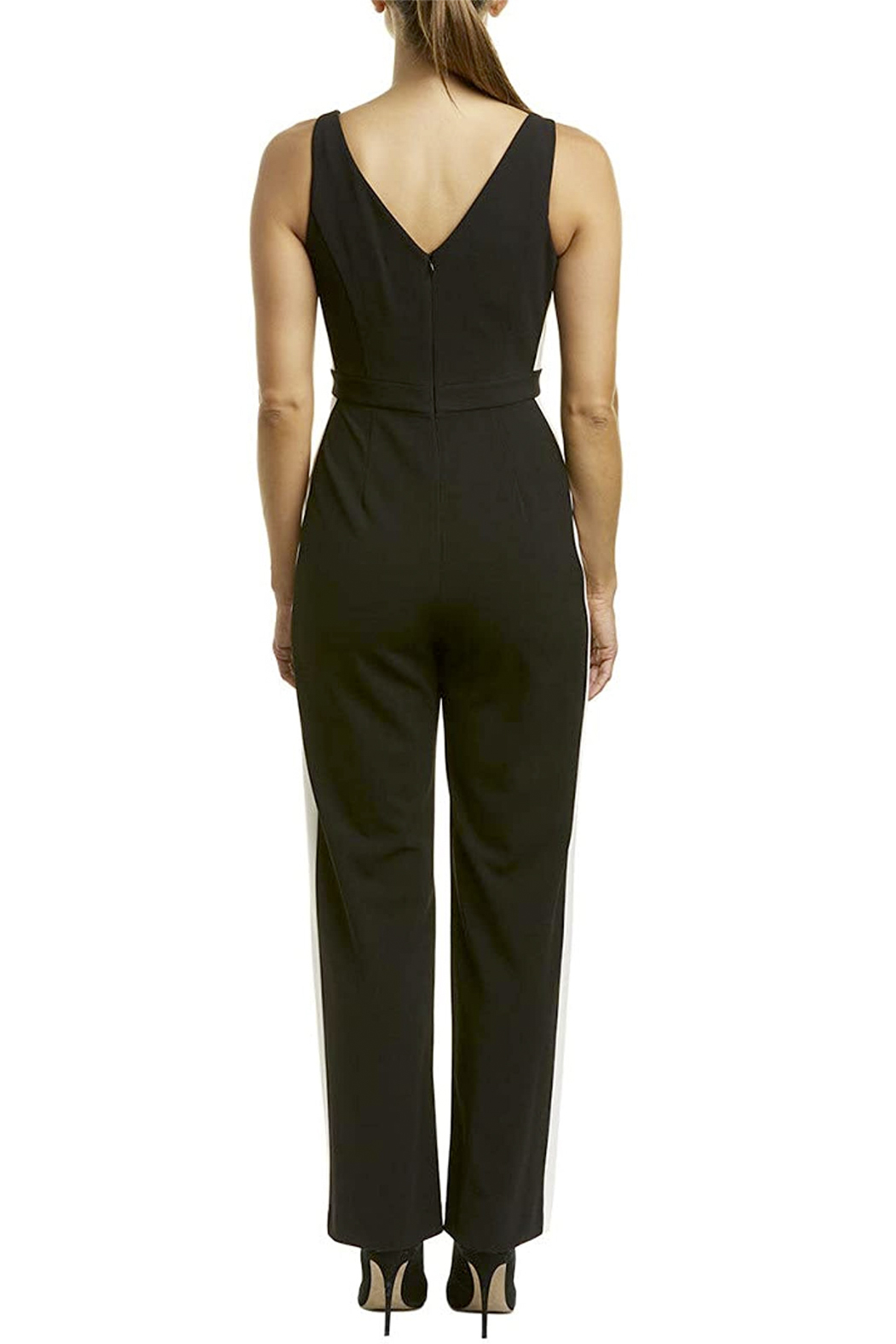 Donna Morgan Jumpsuit with White Side Stripes - Back Cropped Image