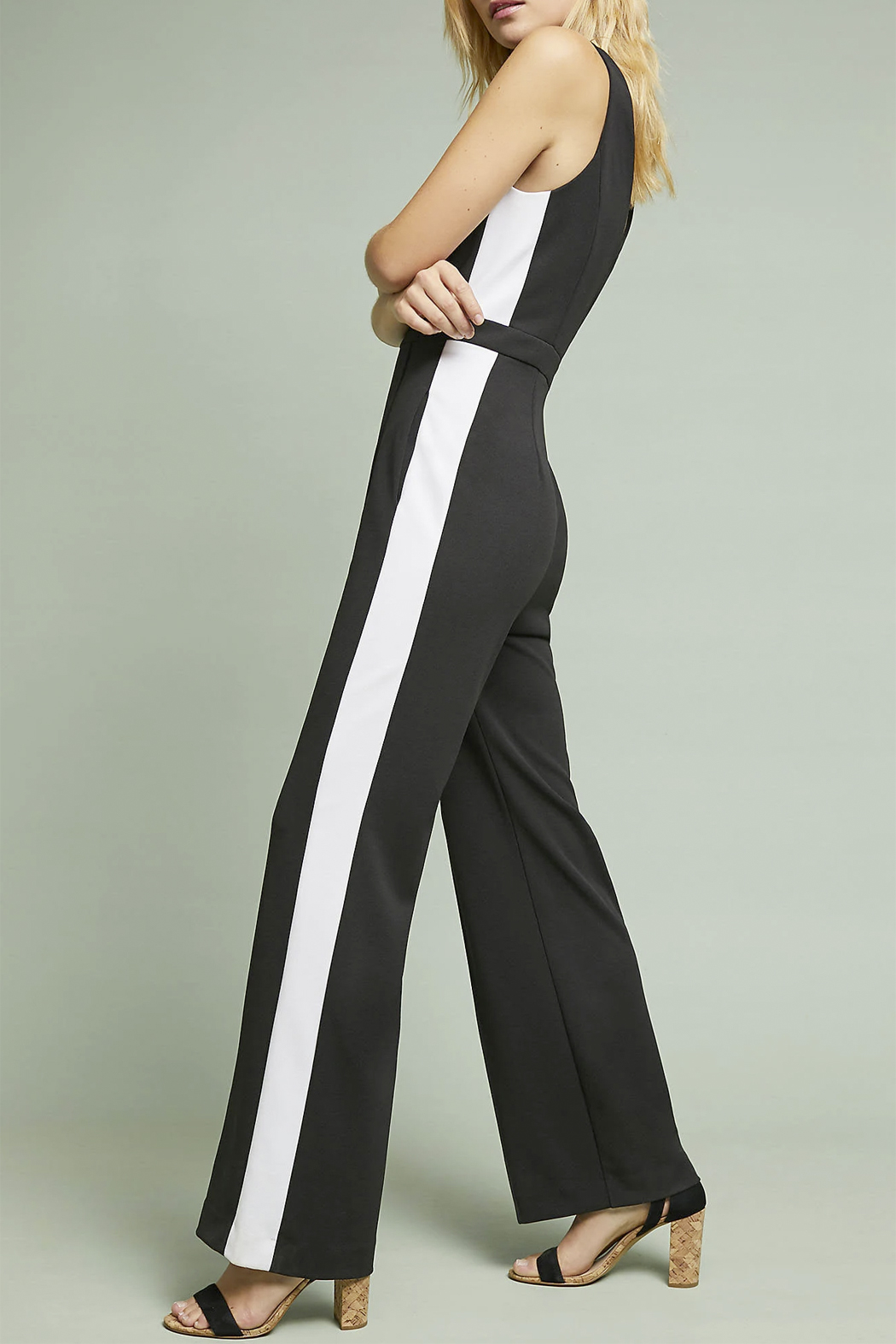 Donna Morgan Jumpsuit with White Side Stripes - Side Cropped Image