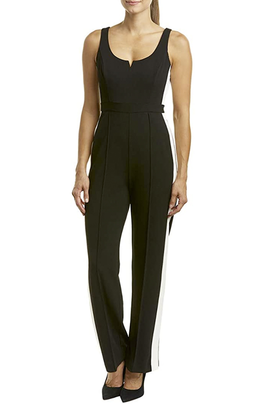 Donna Morgan Jumpsuit with White Side Stripes - Main Image
