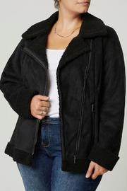 JUNAROSE Faux Shearling Biker Jacket - Product Mini Image