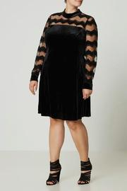 JUNAROSE Velvet Lace Dress - Product Mini Image
