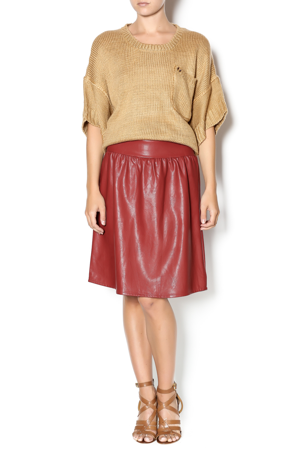 junee Faux Leather Skirt - Front Full Image