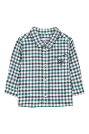Tartine et Chocolat Junior Green and Navy Gingham Twill Shirt - Product Mini Image