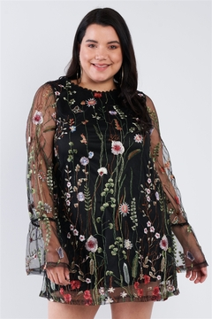 Shoptiques Product: Junior Plus Size Black Floral Mix Sheer Mock Lace Neck Mini Dress