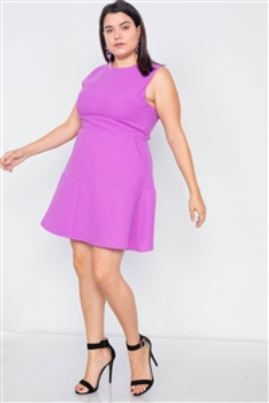Do + Be  Junior Plus Size Orchid Fit & Flare Sleeveless Midi Dress - Main Image