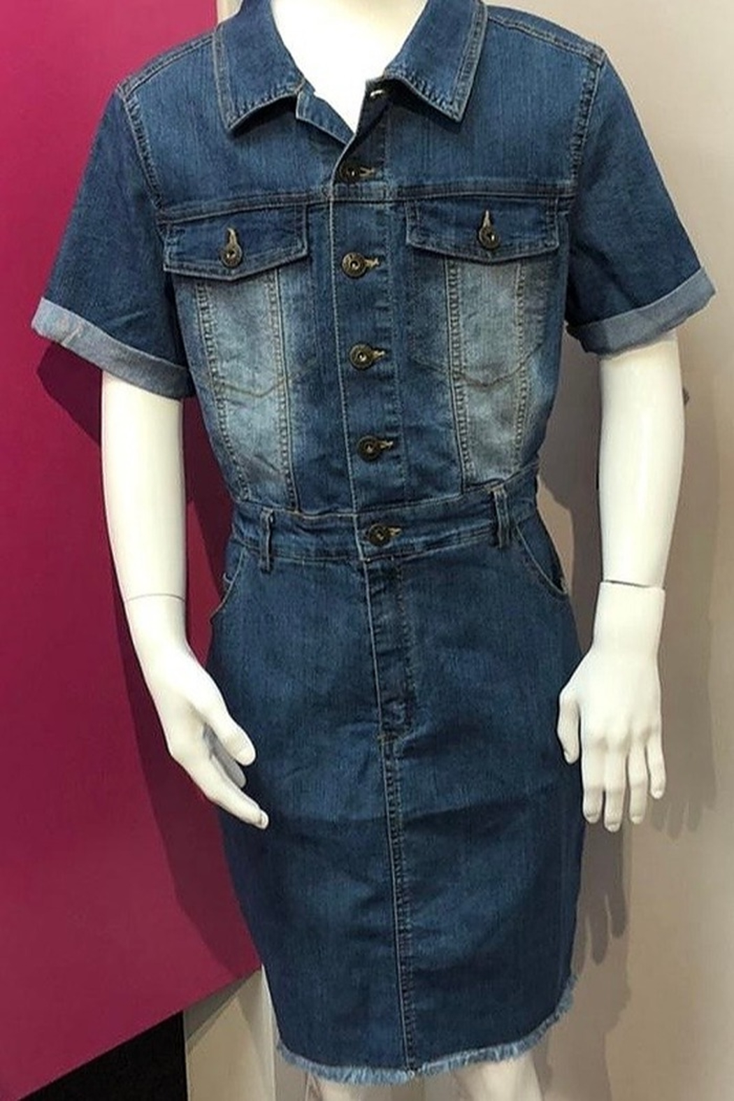 Trend Notes  JUNIOR Short Sleeve Button Down Dress - Main Image