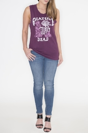 Junk Food Clothing Purple Sleeveless Graphic Top - Back cropped