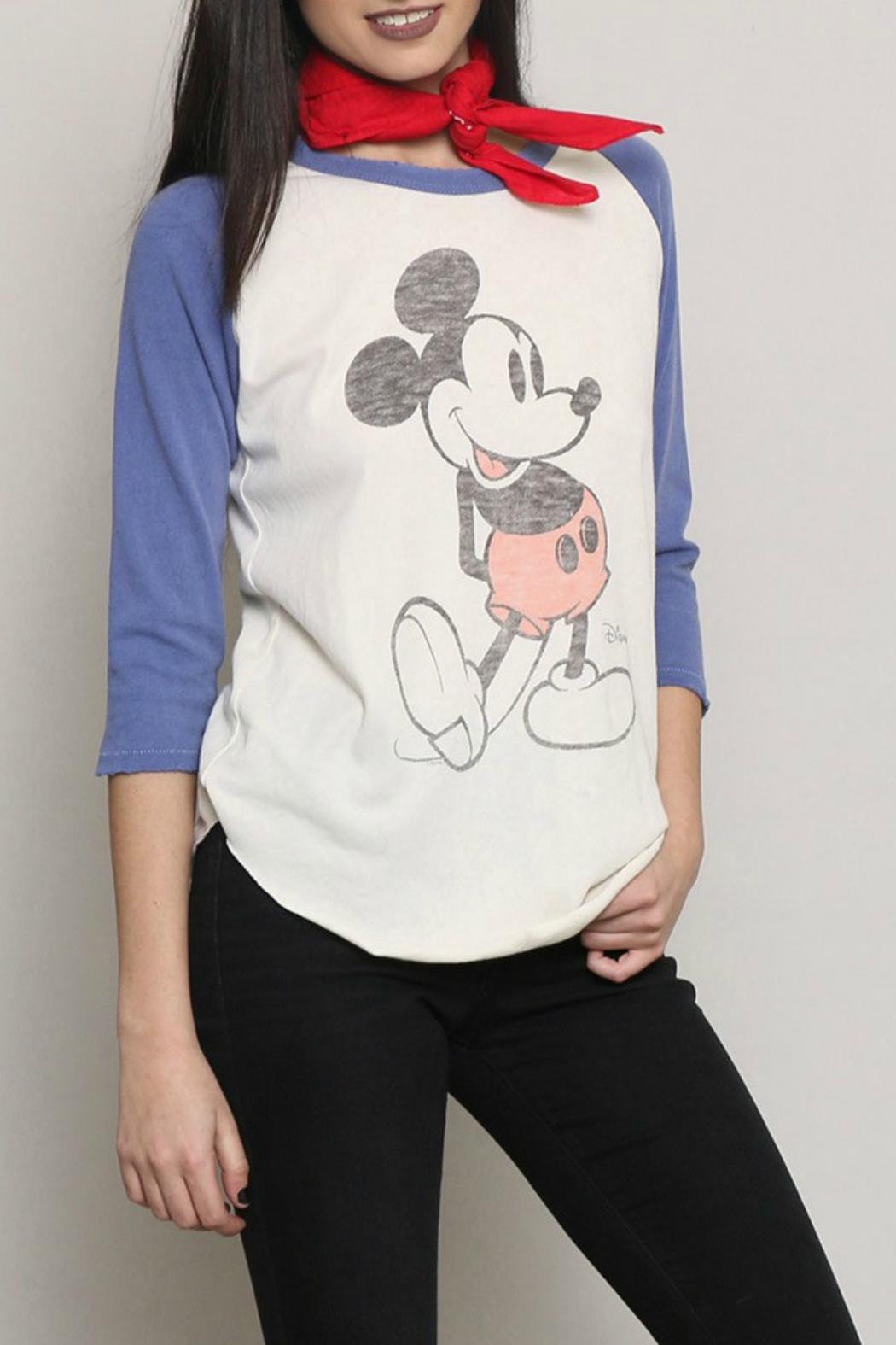 Junk Food Clothing Mickey Mouse Raglan Tee - Front Cropped Image