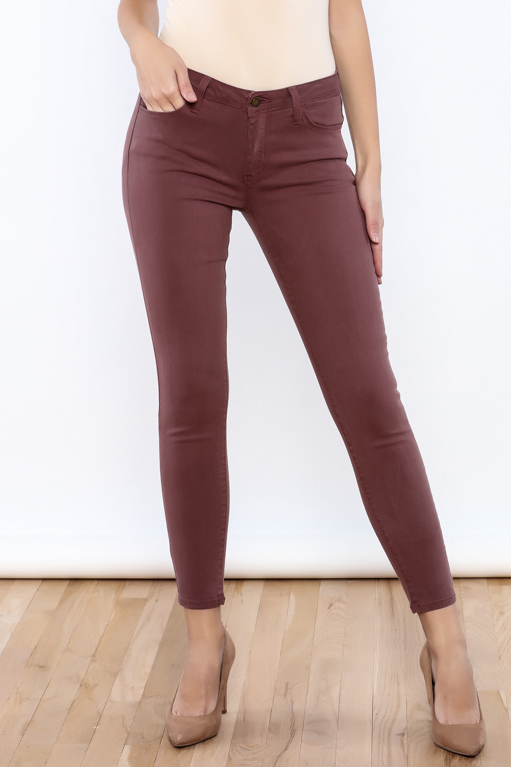 just black Ankle Skinny Jeans - Front Cropped Image