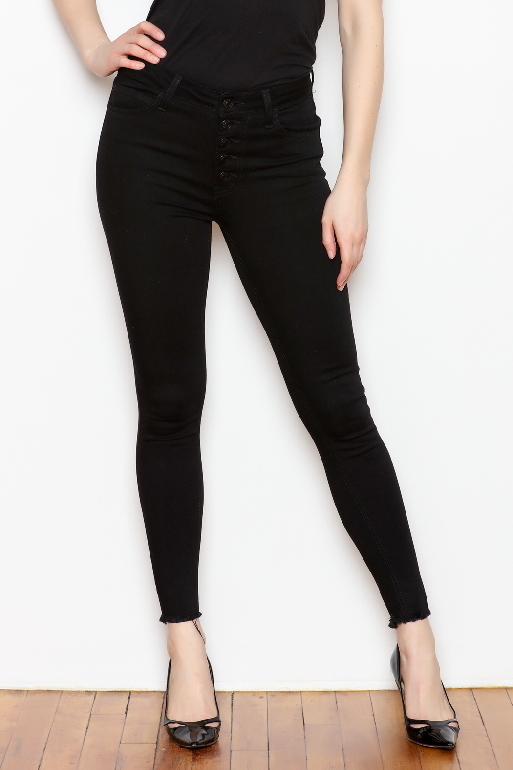 just black Button Fly Denim Jeans - Main Image