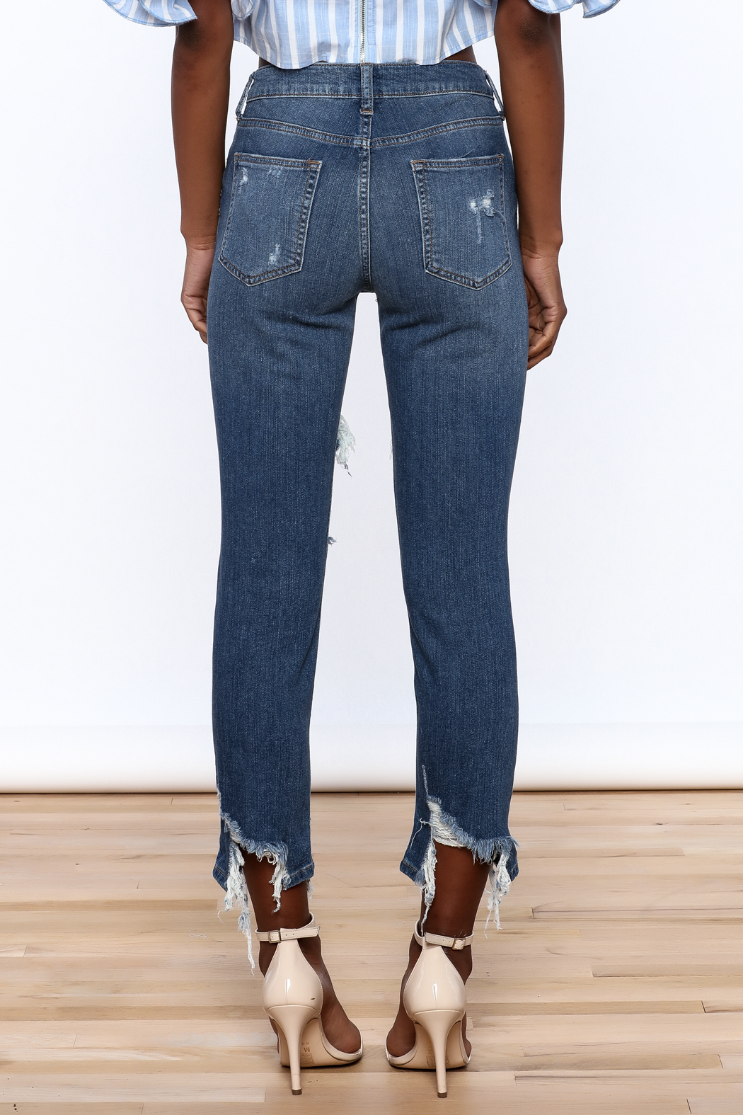 Just Black Denim Mid Rise Destroyed Jeans - Back Cropped Image