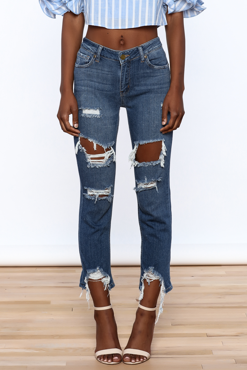 Just Black Denim Mid Rise Destroyed Jeans - Side Cropped Image