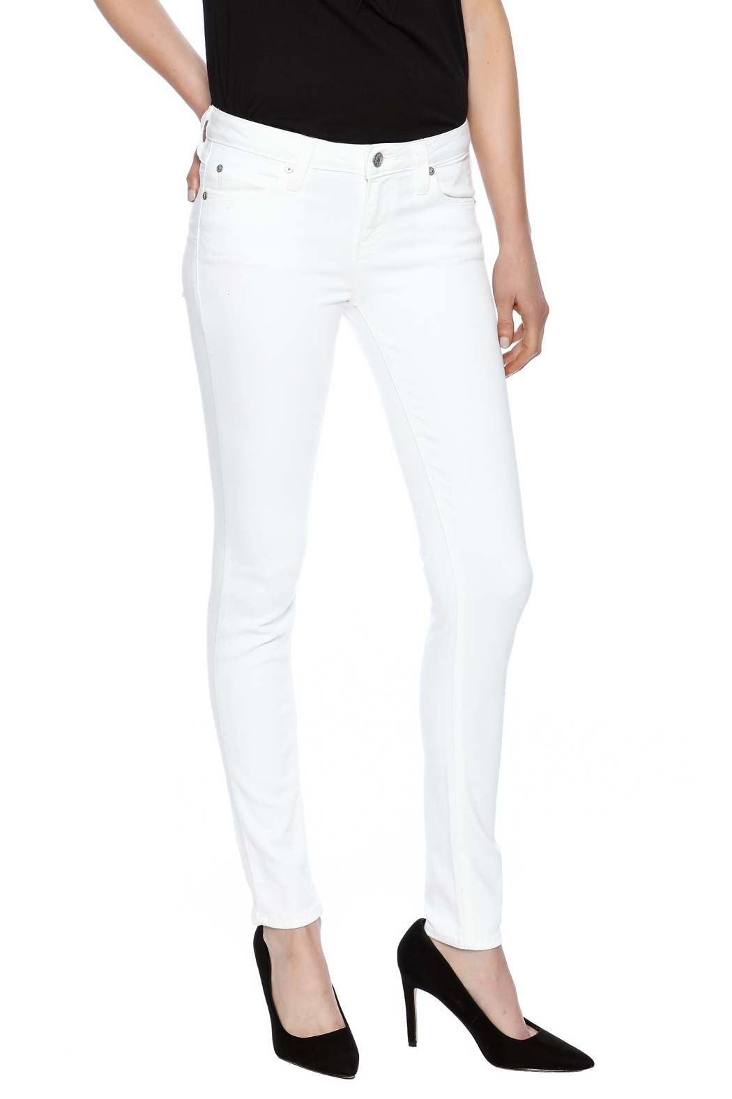 just black White Super Soft Jeggings - Front Cropped Image