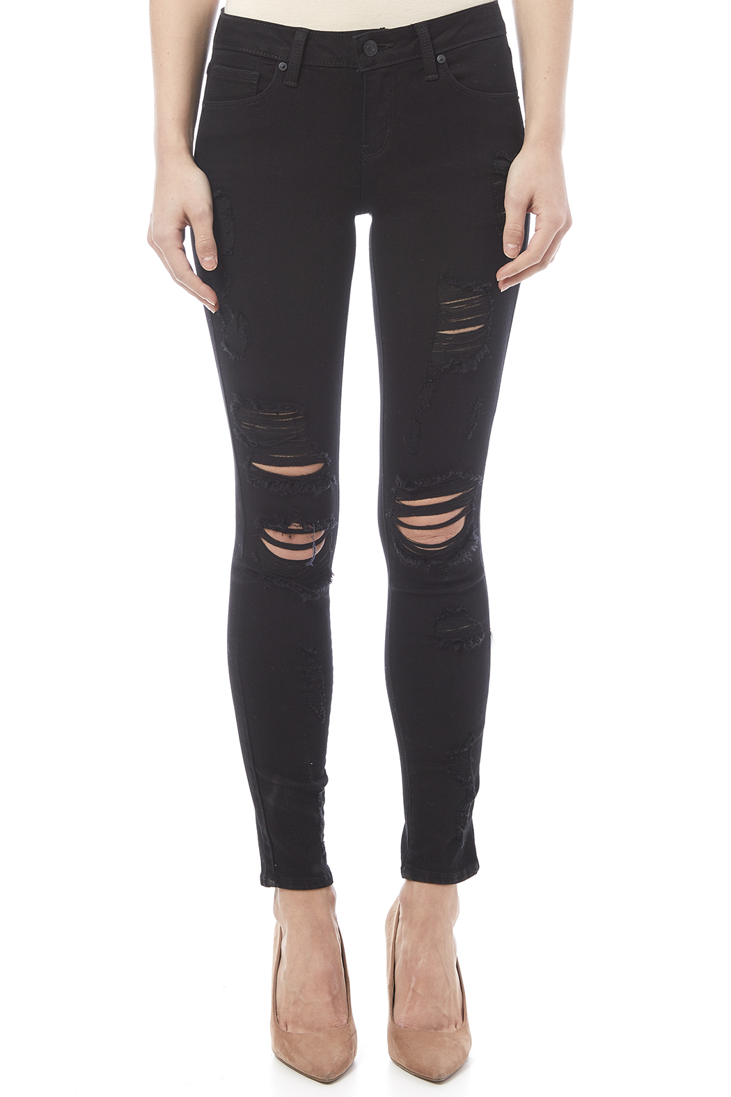 Just USA Destroyed Ripped Skinny Jean - Side Cropped Image