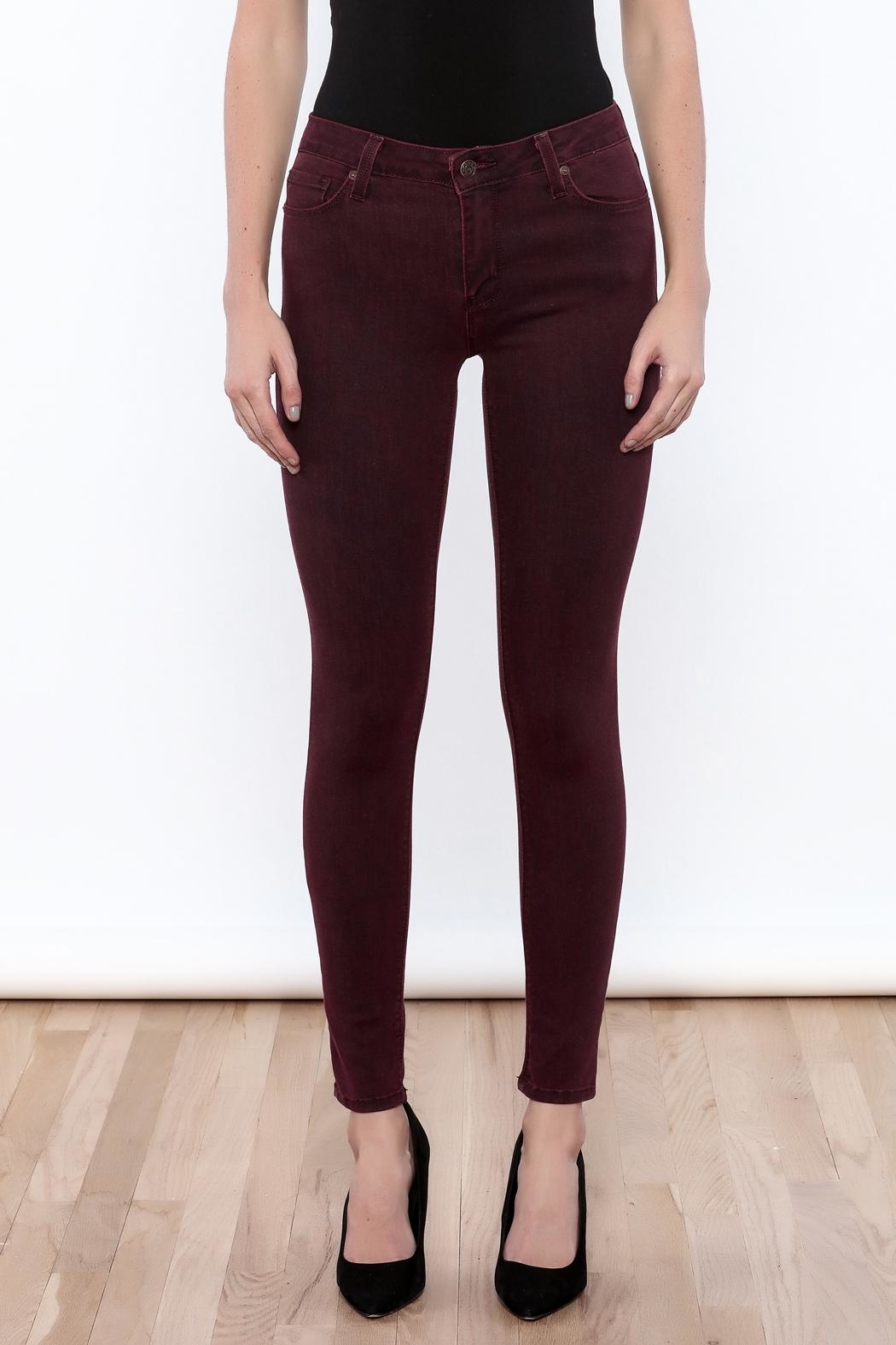 just black Burgundy Skinny Jeans - Side Cropped Image