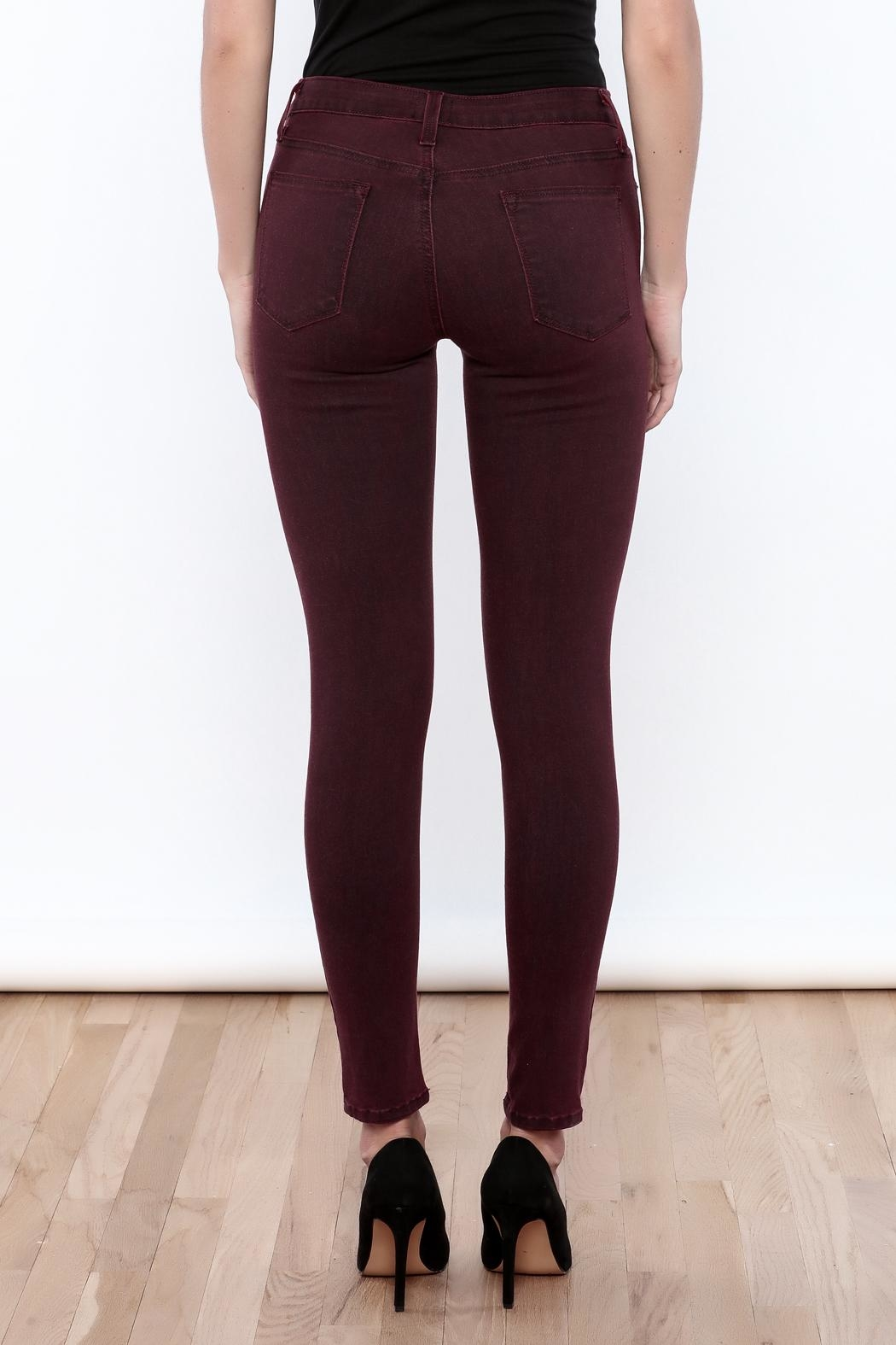 just black Burgundy Skinny Jeans - Back Cropped Image