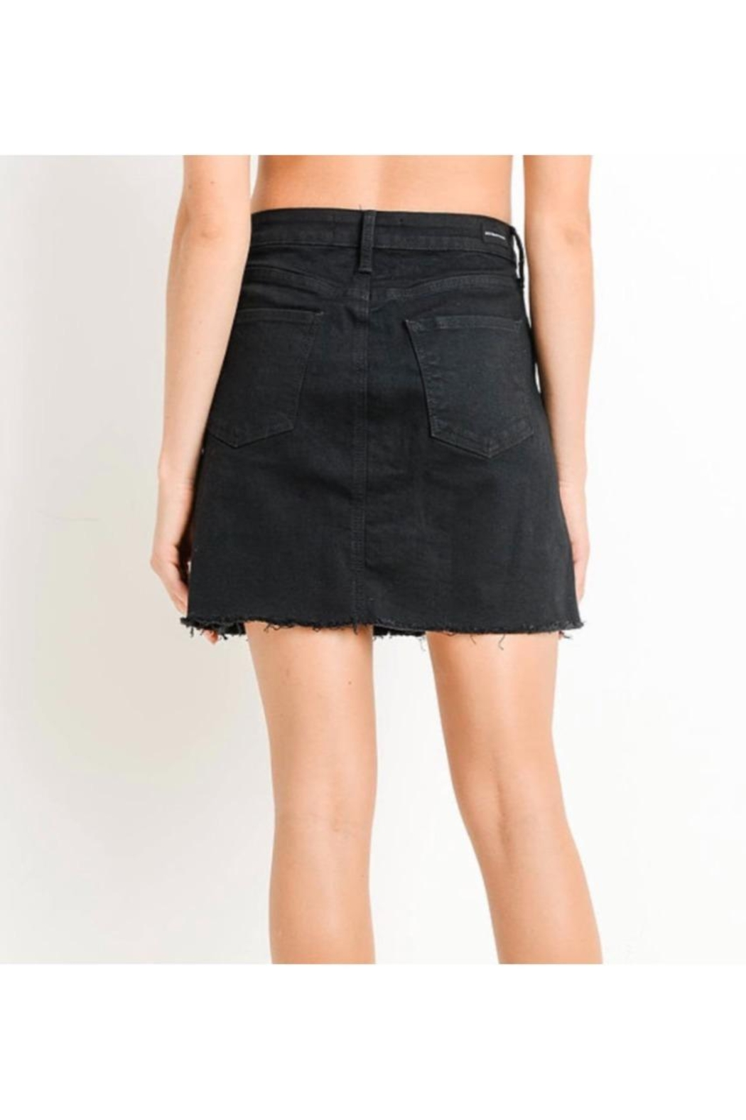 just black Button Fly Denim Skirt - Side Cropped Image