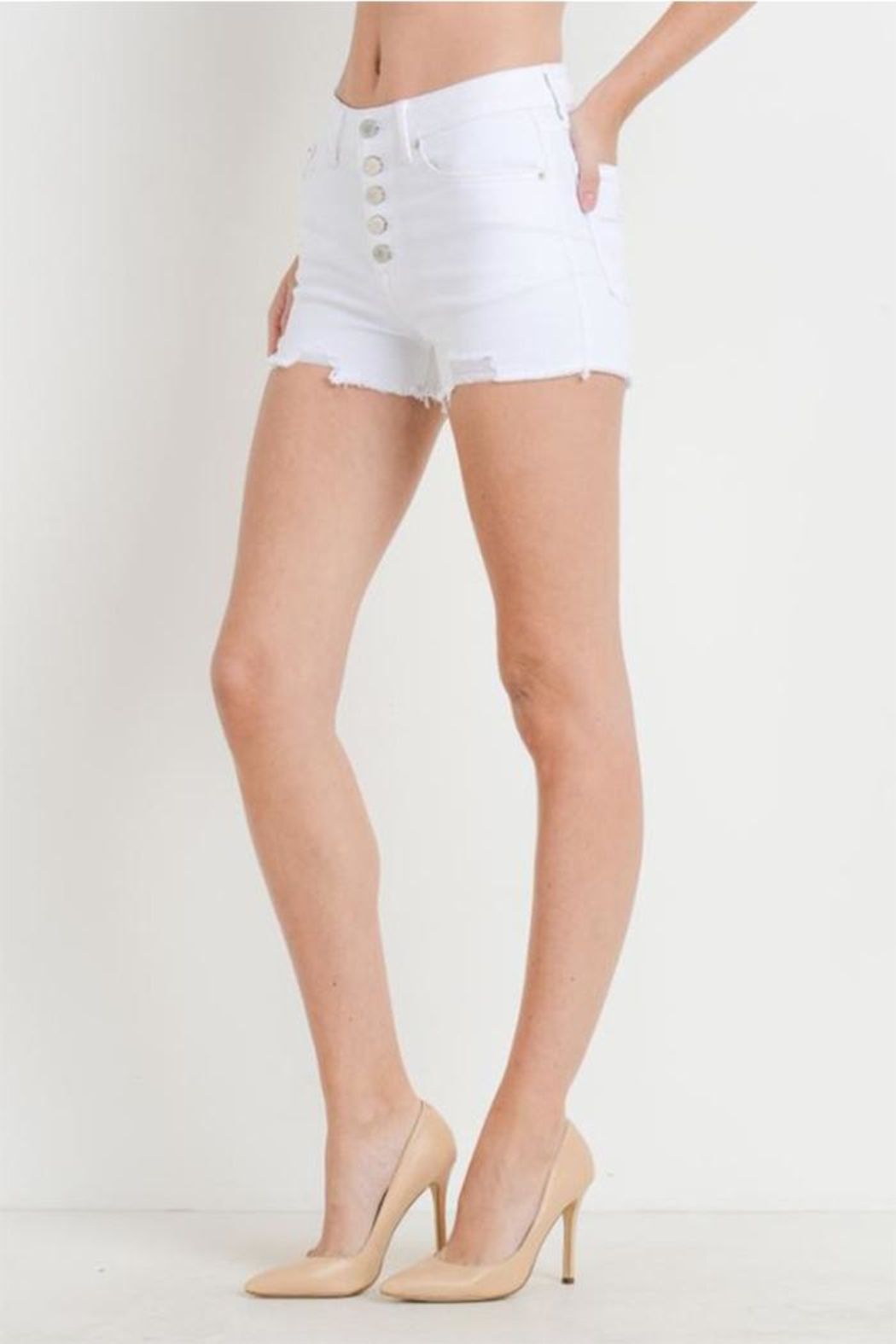 just black Button Fly Shorts - Front Full Image