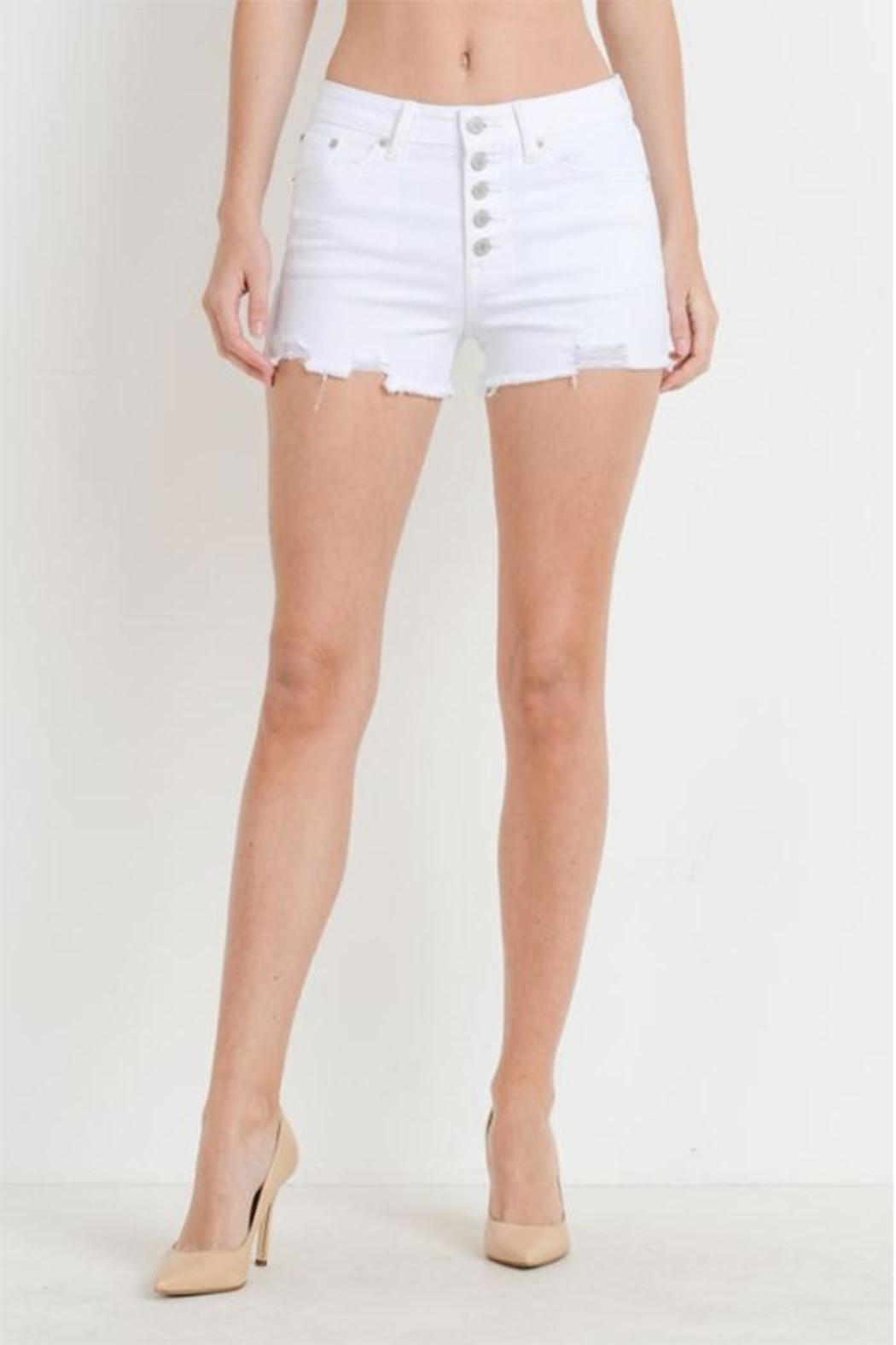 just black Button Fly Shorts - Main Image