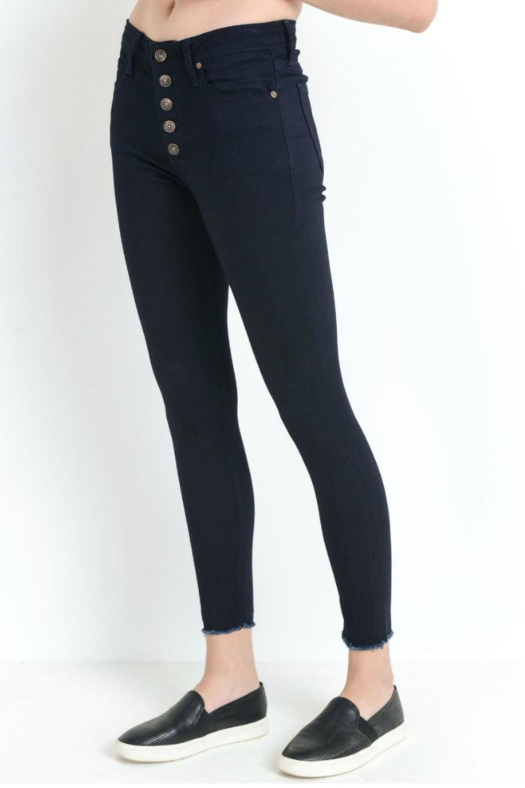 just black Button Fly Skinny - Front Cropped Image