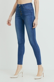 just black Button Front Jeans - Front full body