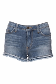 just black Denim Fray Short - Front cropped