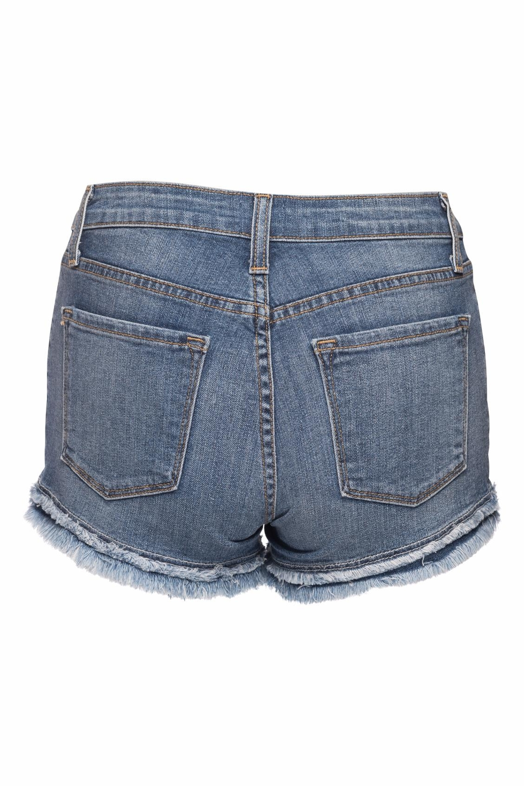 just black Denim Fray Short - Front Full Image