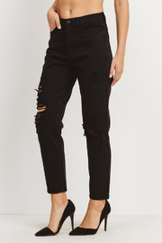 just black Destressed Mom Jean - Front full body