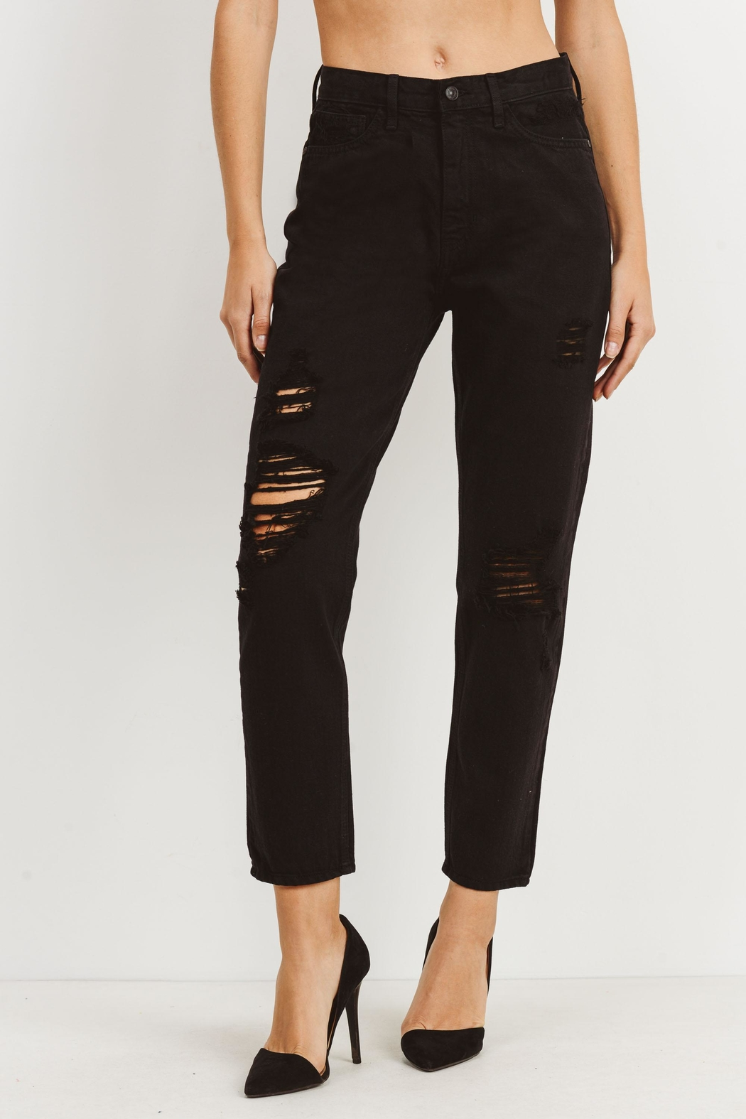 just black Destroyed Mom Jeans - Front Cropped Image
