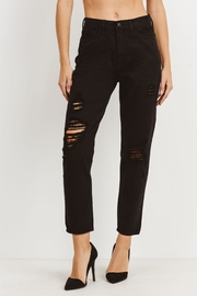 just black Destroyed Mom Jeans - Product Mini Image