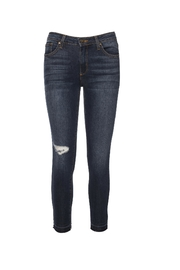 just black Destroyed Unhemmed Denim Jeans - Front cropped
