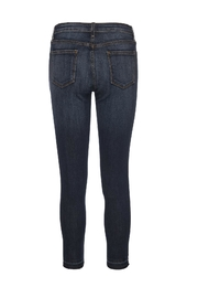 just black Destroyed Unhemmed Denim Jeans - Front full body