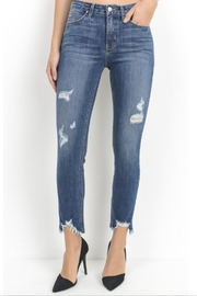 just black Distressed Denim Skinnies - Product Mini Image