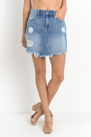 just black Distressed Denim Skirt - Product Mini Image