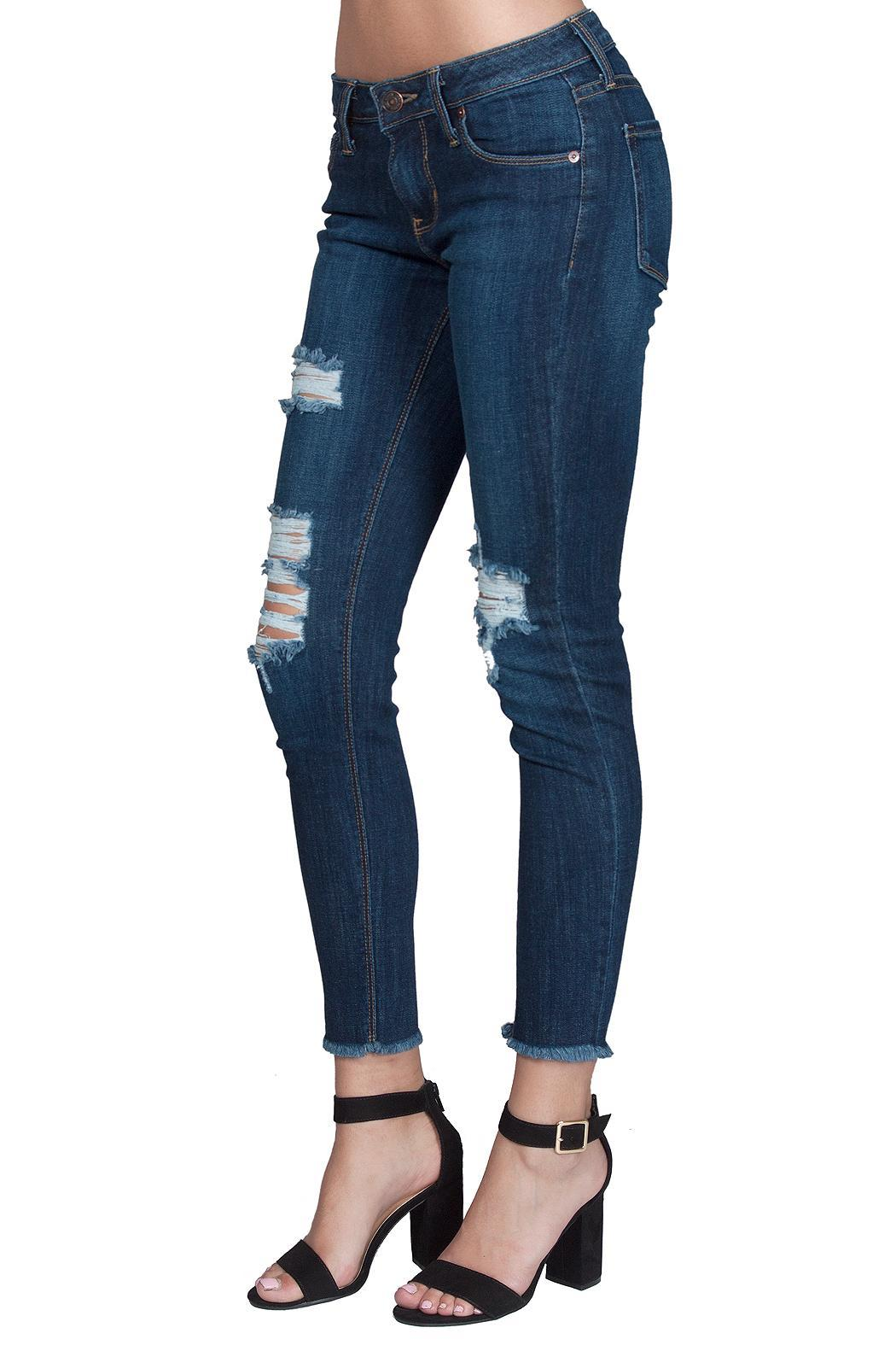 just black Distressed Fray Skinny - Front Full Image