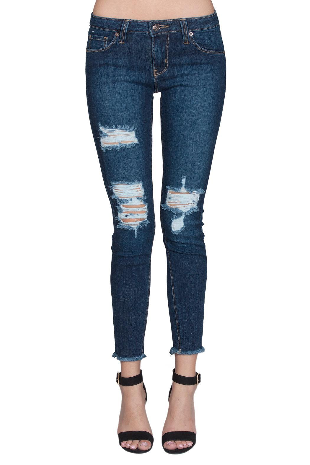 just black Distressed Fray Skinny - Main Image