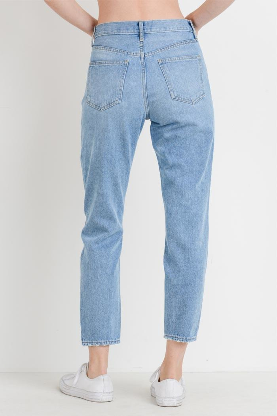 just black Distressed Mom Jean - Side Cropped Image