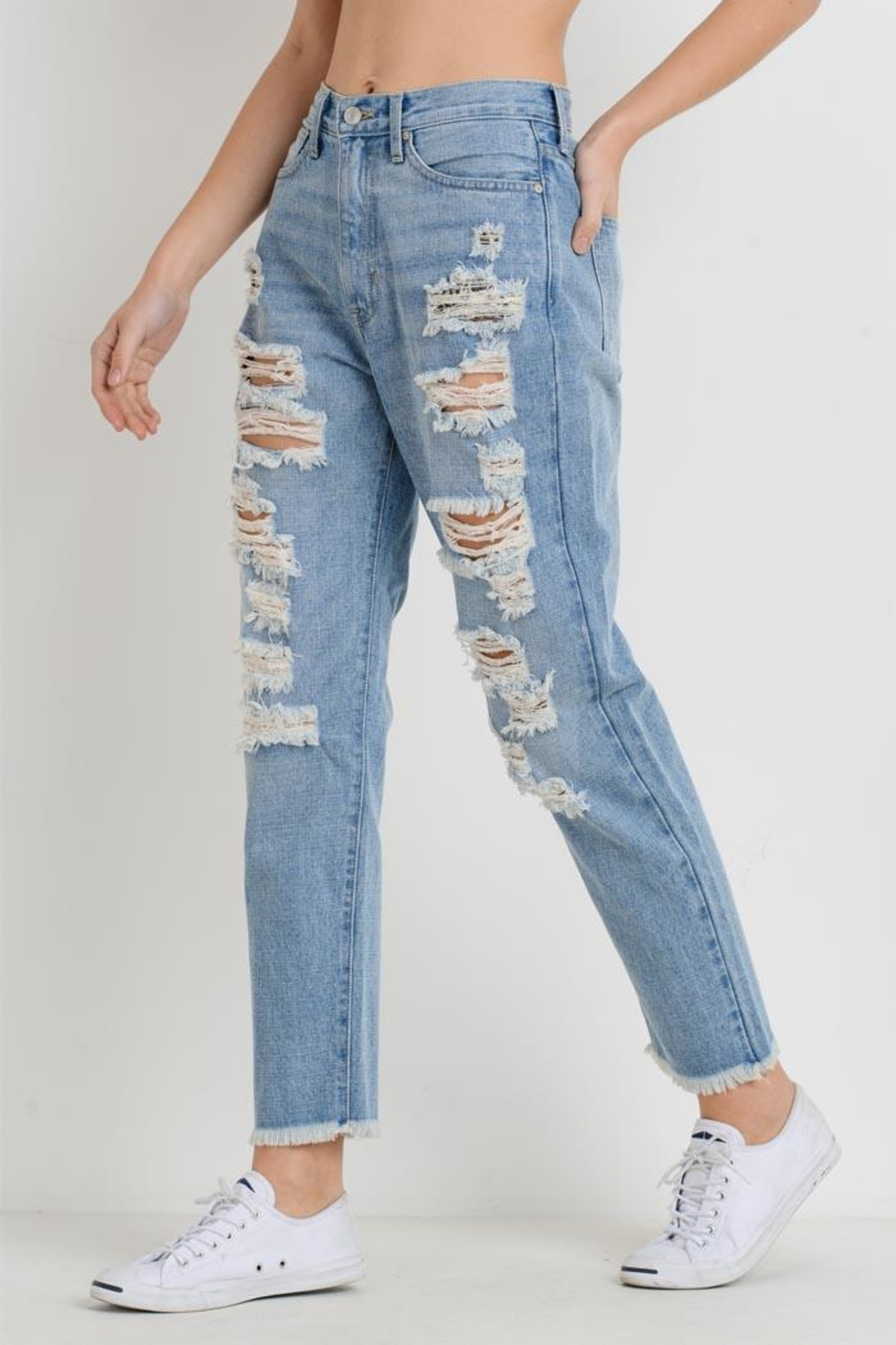 just black Distressed Mom Jean - Front Full Image