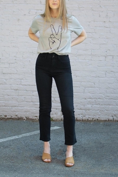 just black Double-Button Straight Jeans - Product List Image