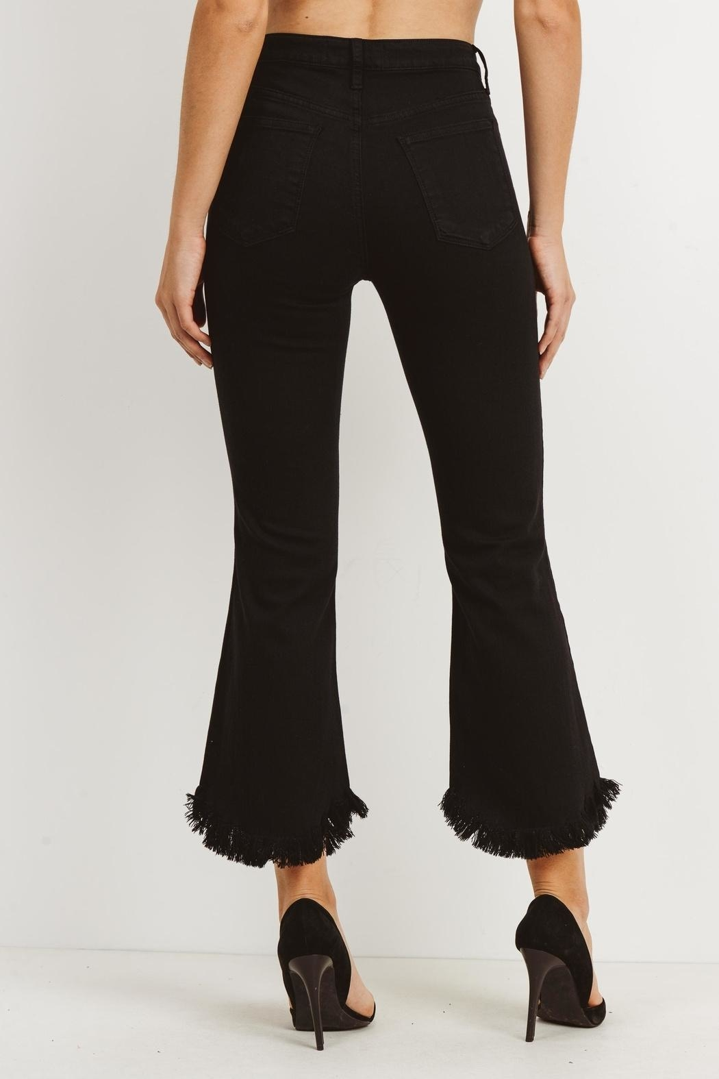 just black Flare Bottom Jeans - Front Cropped Image