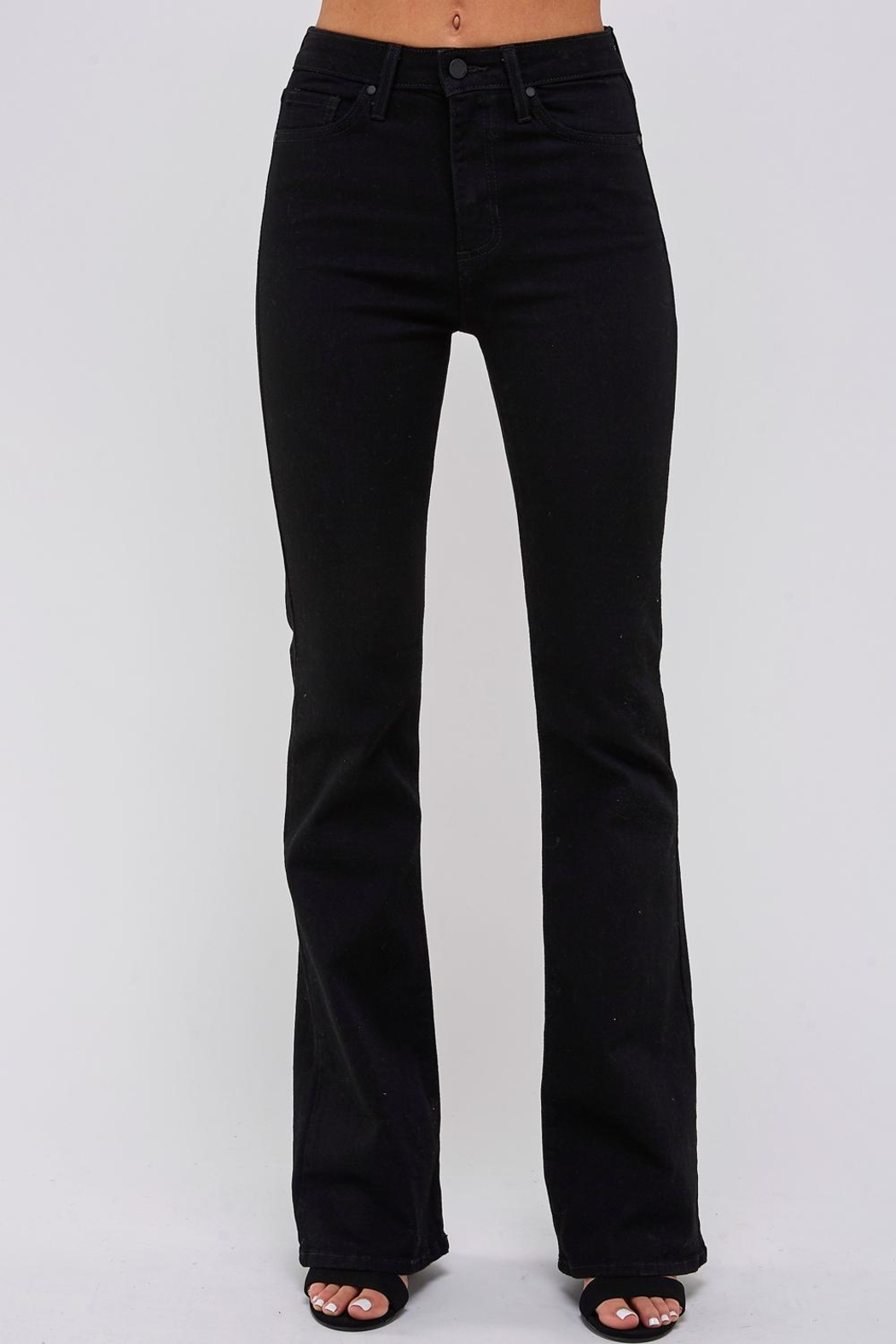 just black Flare Bottom Jeans - Front Full Image