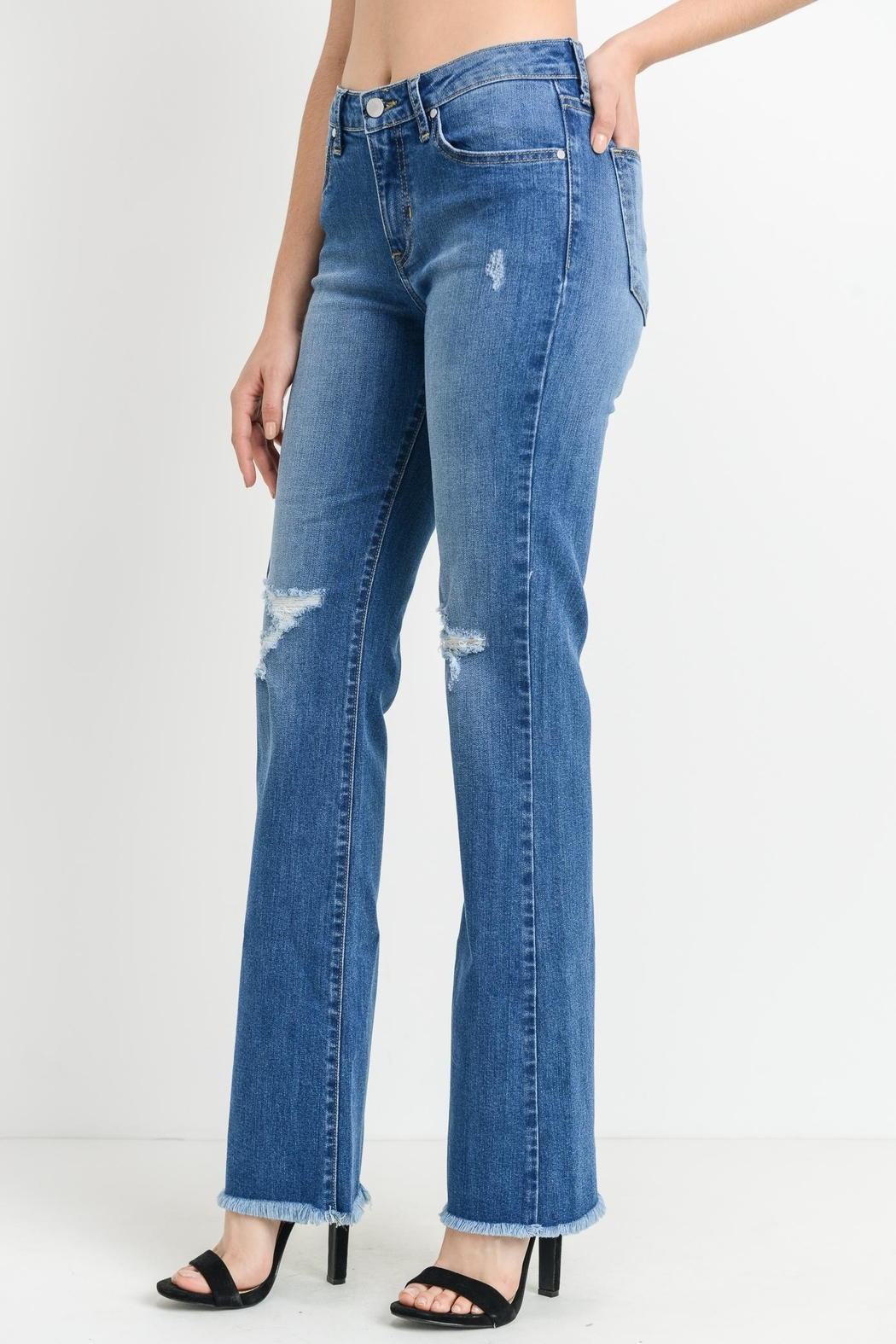 just black Frayed Bootcut Jeans - Front Full Image
